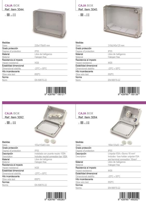 انواع تابلوهاى PVC با درب شفاف در سایزهاى مختلف IP55